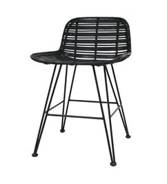 HK living-collectie Dining chair rattan - black