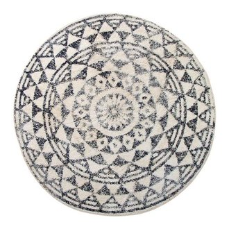 HKliving Bath mat round black and white pattern (dia 120)