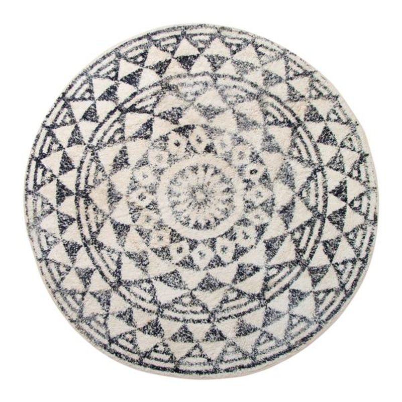 HK living-collectie Bath mat round black and white pattern (dia 120)