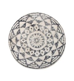 HK living-collectie Bath mat round black and white pattern (dia 80)