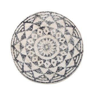 HKliving Bath mat round black and white pattern (dia 80)