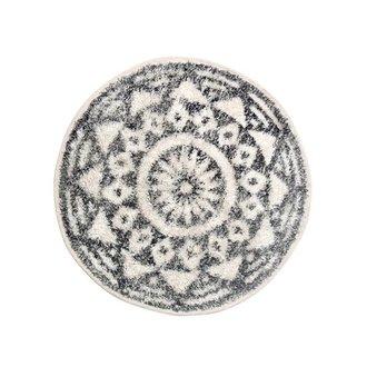 HK living Bath mat round black and white pattern (dia 60)