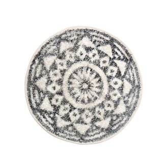 HKliving Bath mat round black and white pattern (dia 60)