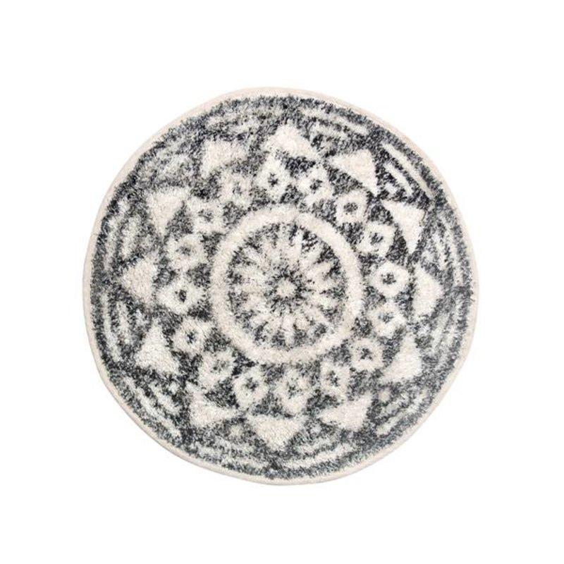 HKliving-collectie Badmat rond zwart wit patroon (dia 60)