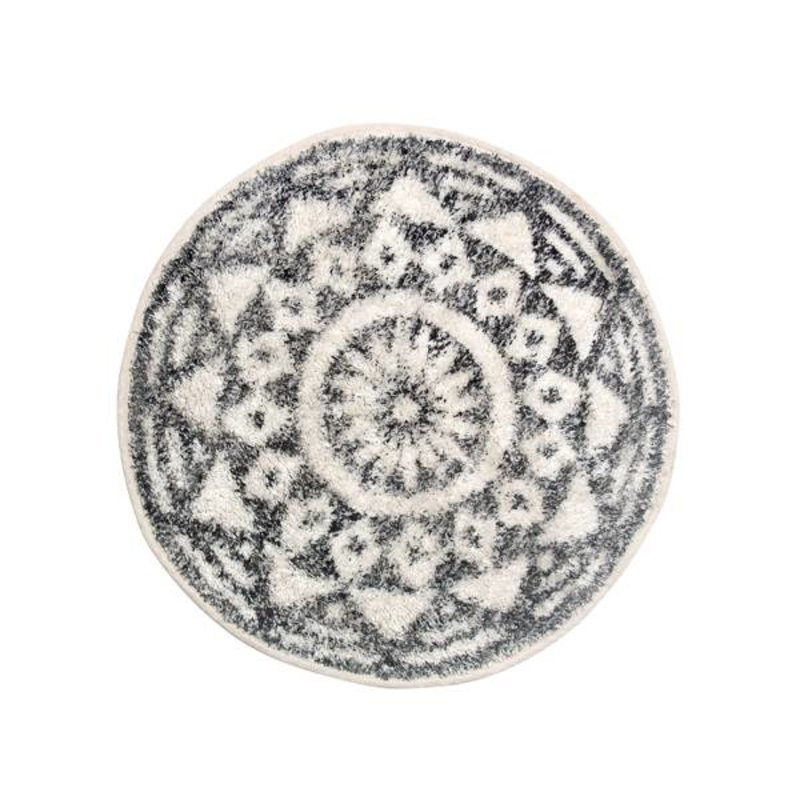 HKliving-collectie Bath mat round black and white pattern (dia 60)