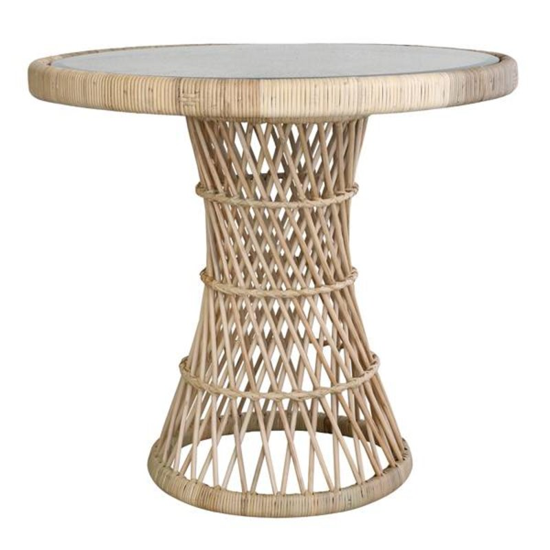 HK living-collectie Sidetable rattan with glass table top