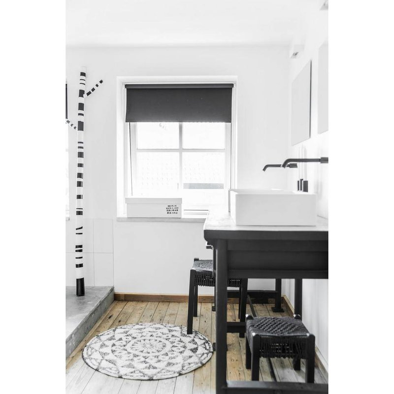 HKliving-collectie Bath mat round black and white pattern (dia 80)