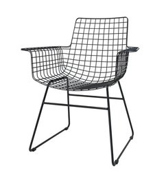 HK living-collectie Wire chair with armrest - black
