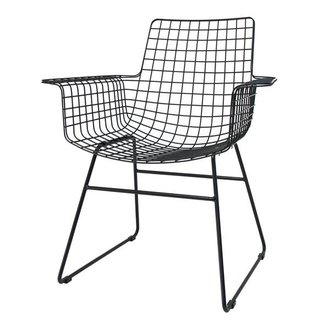 HK living Wire chair with armrest - black