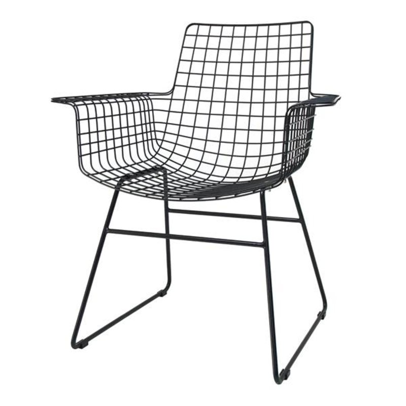 HKliving-collectie Wire chair with armrest - black