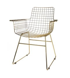 HK living-collectie Wire chair with armrest - brass