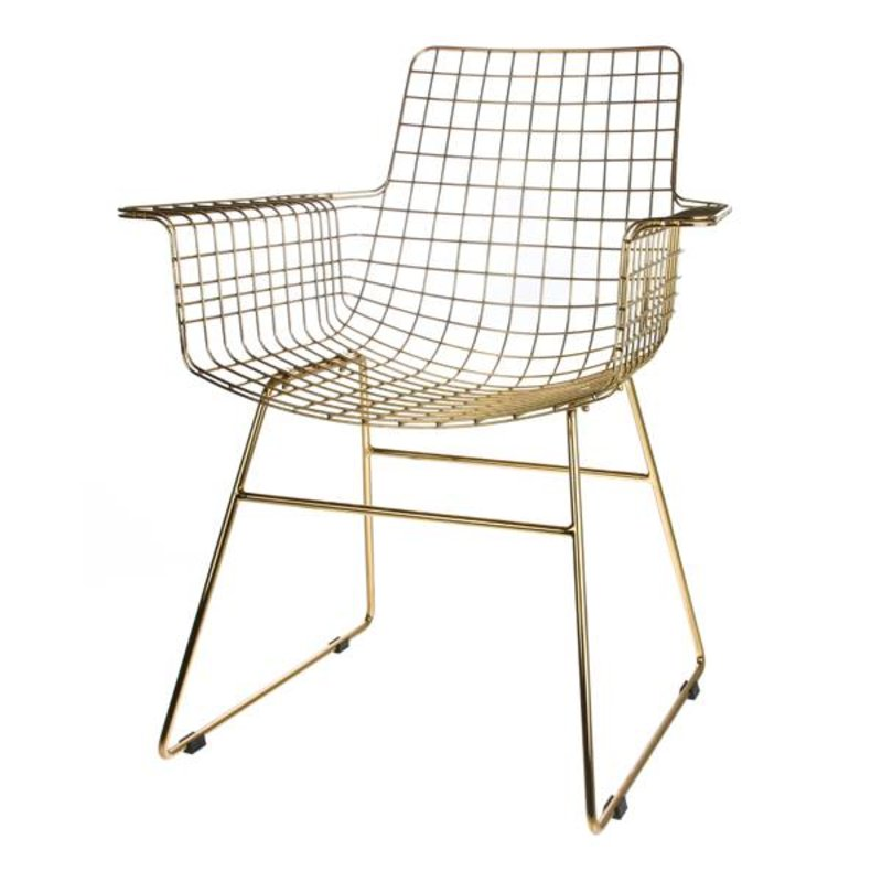 HKliving-collectie Wire chair with armrest - brass