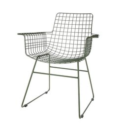 HK living-collectie Wire chair with armrest - army green