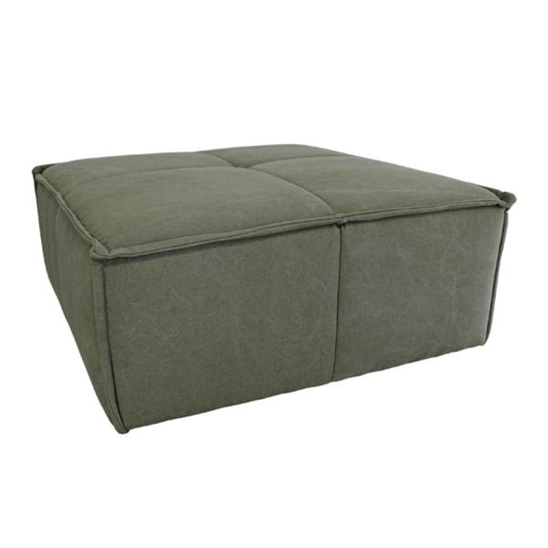 HK living-collectie Hocker cube bank canvas army green