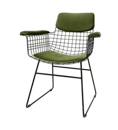 HK living-collectie Comfort kit cushion for wire chair with armrests - green