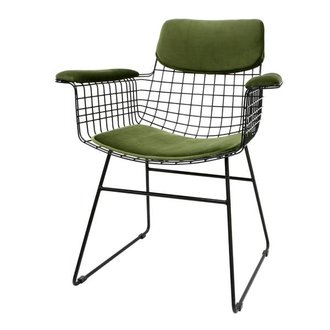 HK living Comfort kit cushion for wire chair with armrests - green