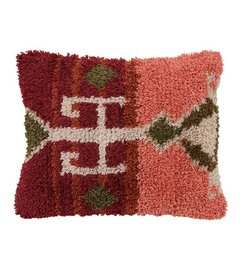 HK living  Long-looped cushion - coral red