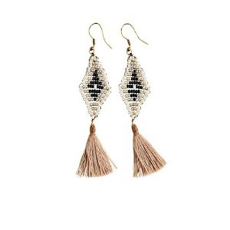 Madam Stoltz Beaded tassel earrings
