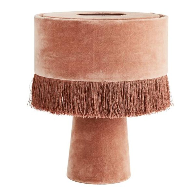 Madam Stoltz-collectie Vintage tafellamp velvet dusty rose met franjes