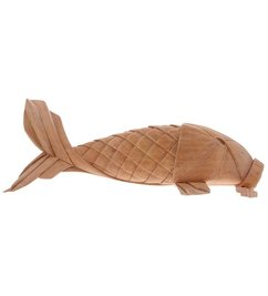 HK living-collectie hand carved wooden carp fish