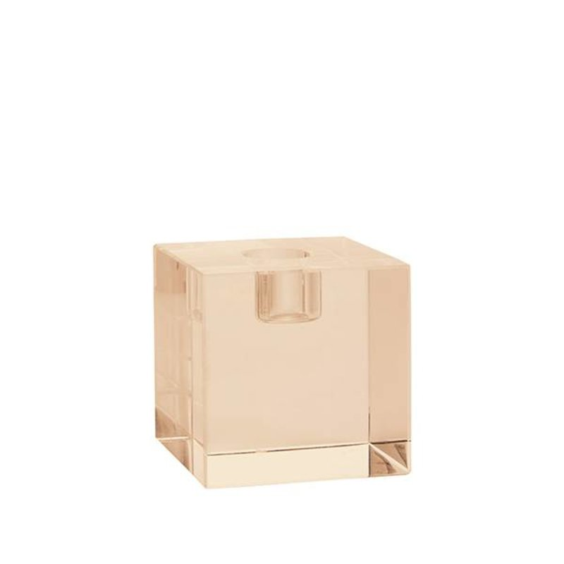 HK living-collectie crystal glass candle holder amber cube