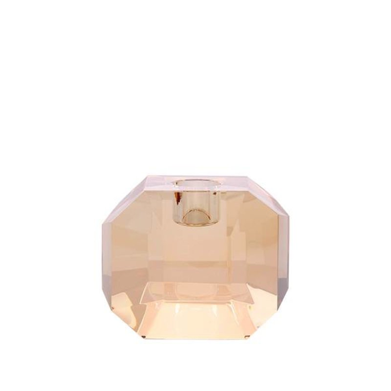 HK living-collectie crystal glass candle holder amber diamond