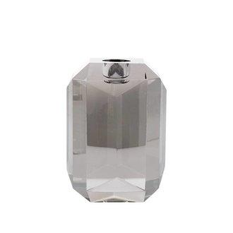 HK living crystal glass candle holder grey diamond