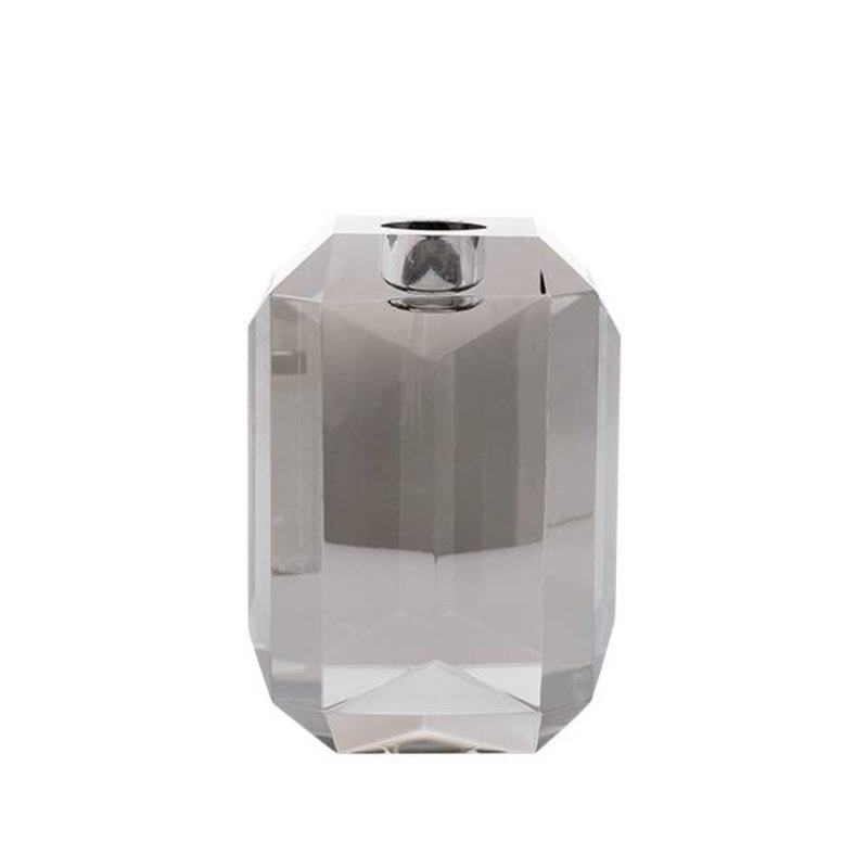 HK living-collectie crystal glass candle holder grey diamond