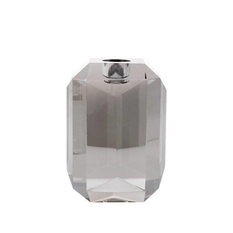 HKliving-collectie Kandelaar kristalglas diamant grijs
