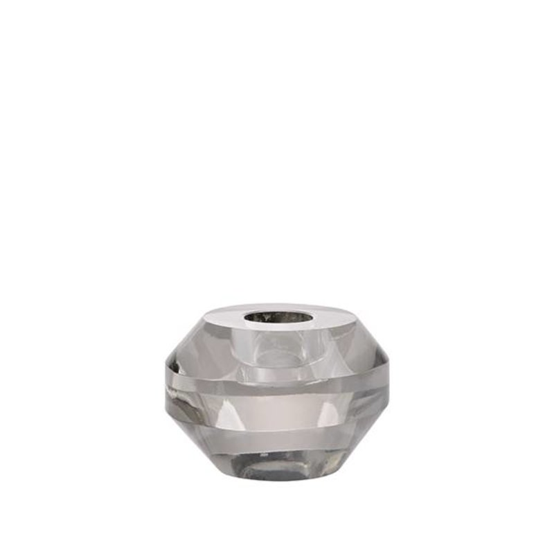 HK living-collectie crystal glass candle holder grey round