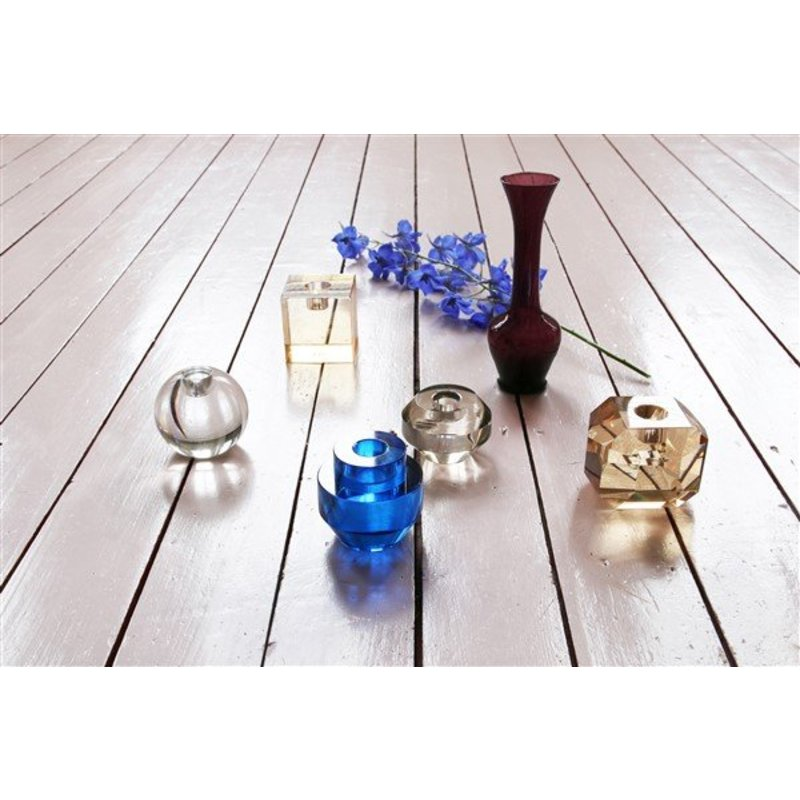 HK living-collectie crystal glass candle holder cobalt round