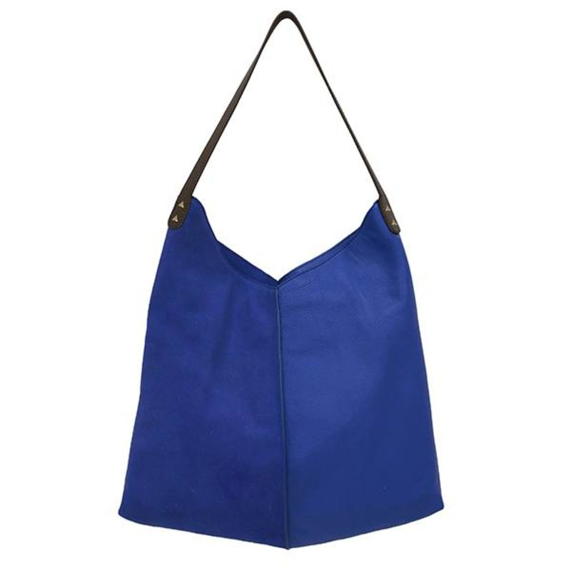 HKliving-collectie leather bag electric blue