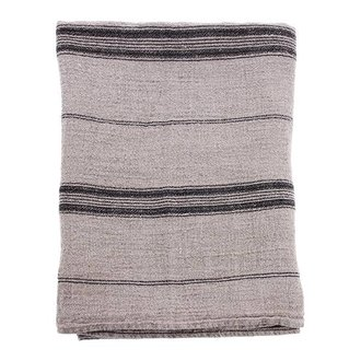 HK living natural/striped linnen table cloth (140x220)