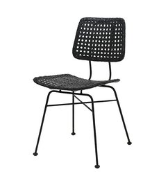 HK living-collectie rattan desk chair black
