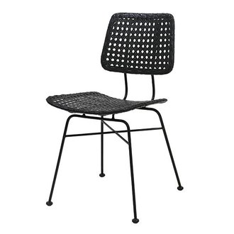 HK living rattan desk chair black