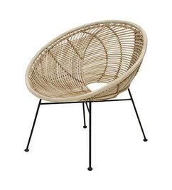 HK living-collectie rattan ball lounge chair natural