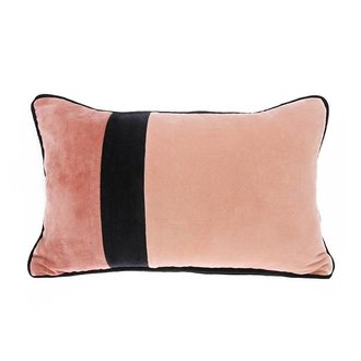HK living velvet cushion black piping (30x50)