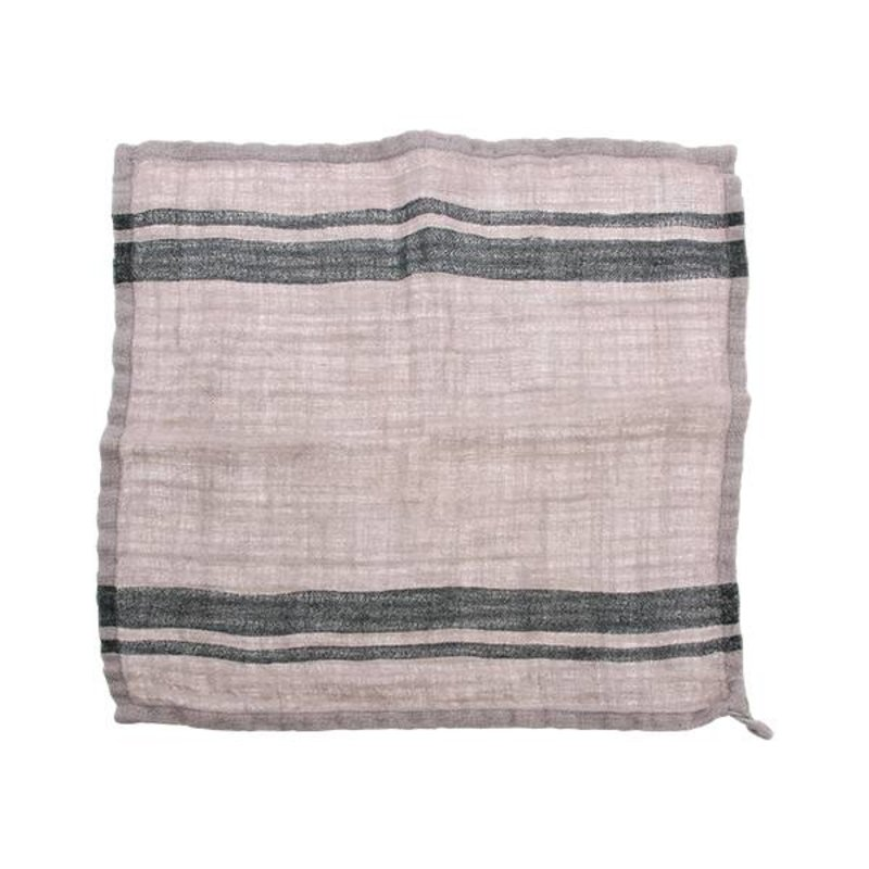 HK living-collectie natural/striped linen napkin set of 2 (45x45)