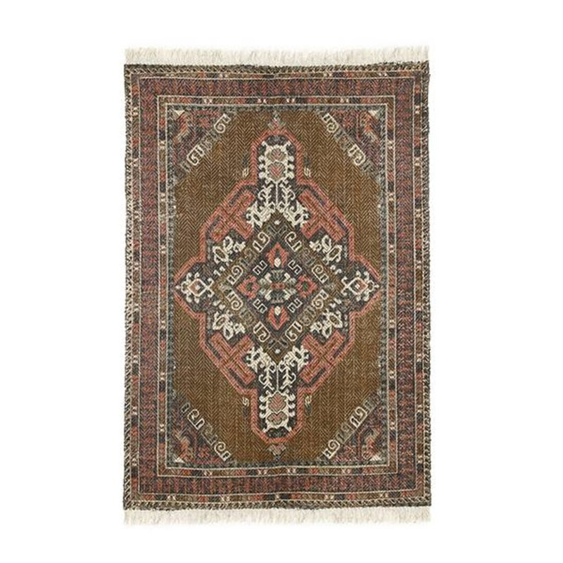 HK living-collectie printed cotton/jute rug stonewashed (120x180)