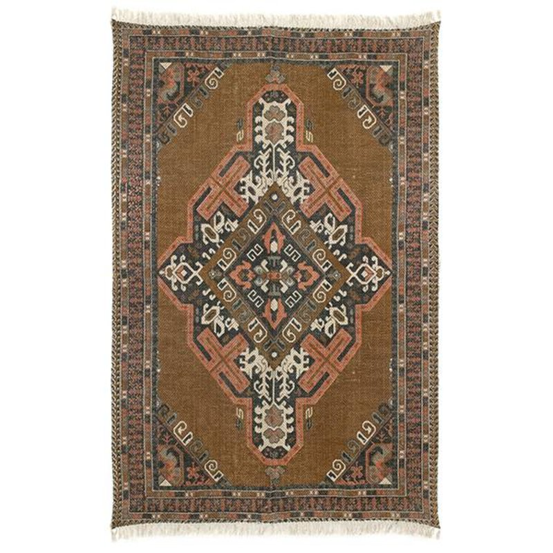 HK living-collectie printed cotton/jute rug stonewashed (180x280)