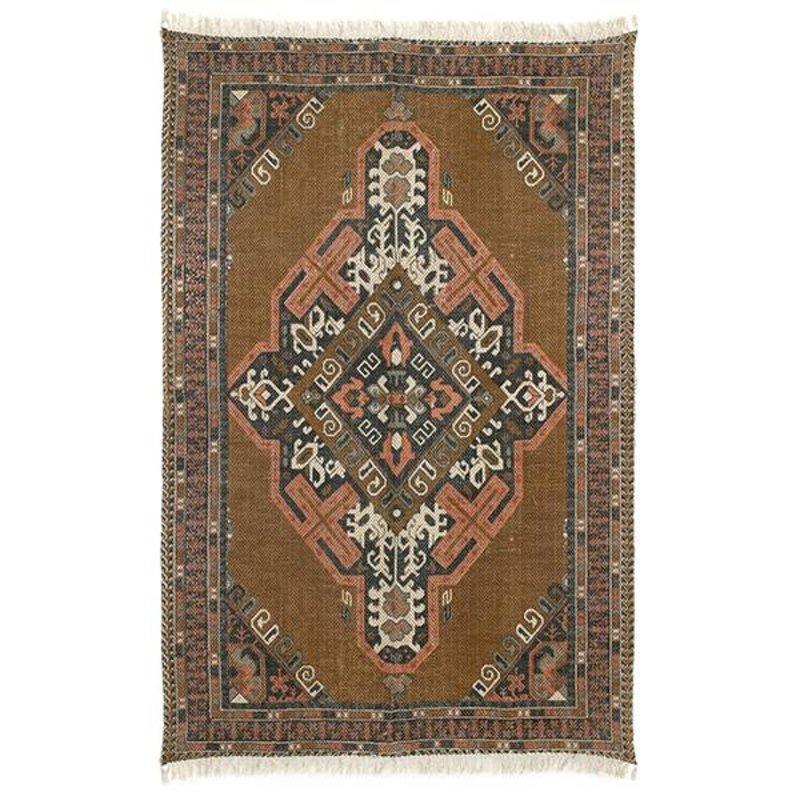 HKliving-collectie printed cotton/jute rug stonewashed (180x280)