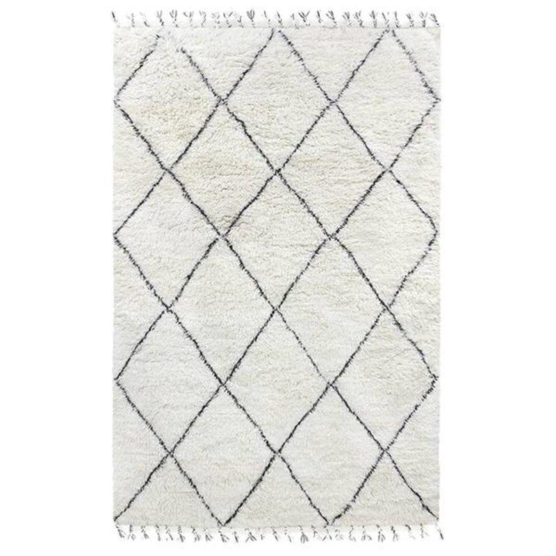 HKliving-collectie woolen berber rug black/white (200x300)