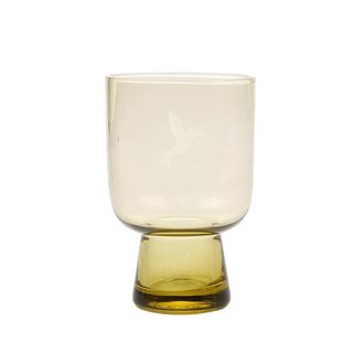 HK living chartreuse glass L engraved