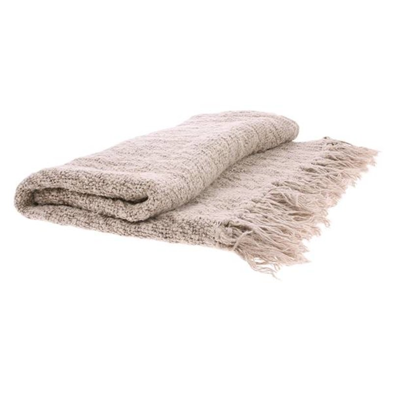 HK living-collectie linen throw natural (130x170)