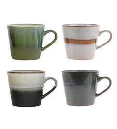 HK living-collectie ceramic 70's cappuccino mugs set of 4
