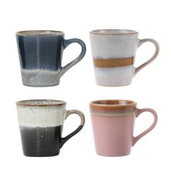 HK living-collectie ceramic 70's espresso mugs set of 4