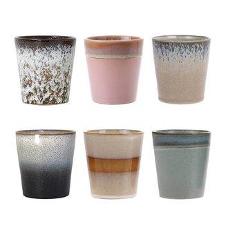 HK living ceramic 70's mugs set of 6