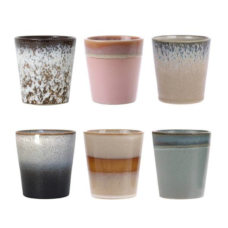 HKliving-collectie ceramic 70's mugs set of 6