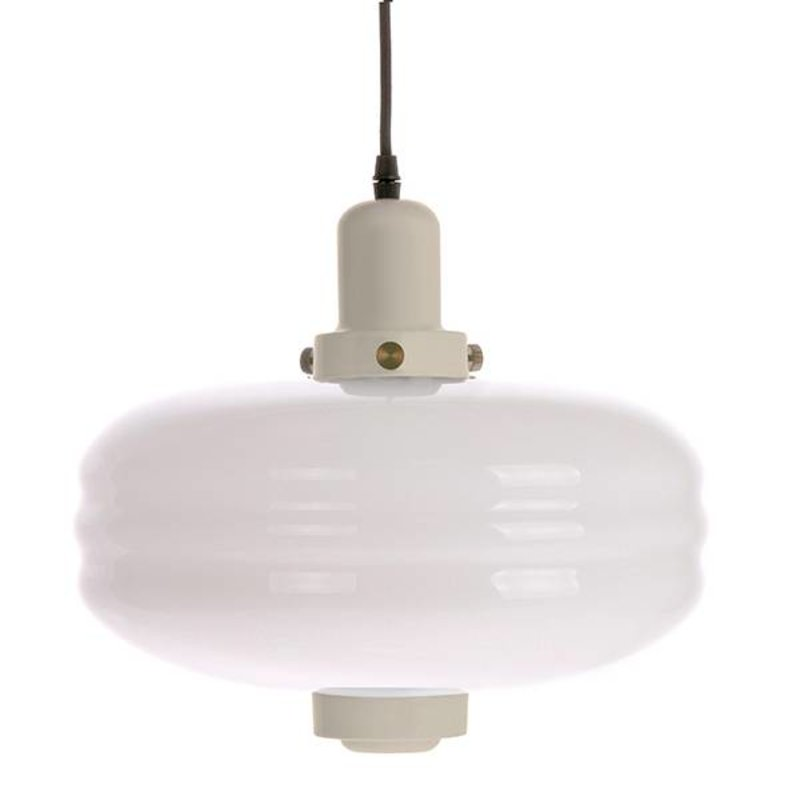HKliving-collectie Hanglamp wit glas - creme 38x38x35cm
