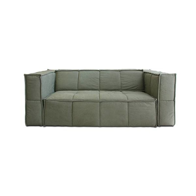 HKliving-collectie cube couch: 3-seats, canvas, army green